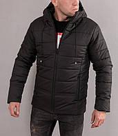 Мужская молодежная зимняя куртка с капюшоном, черного цвета на молнии