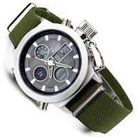 Наручные армейские часы АМСТ (AMST) зелёный ремешок