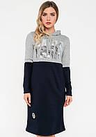 Спортивное платье с капюшоном из трикотажа Modniy Oazis серый 90270/1, фото 1