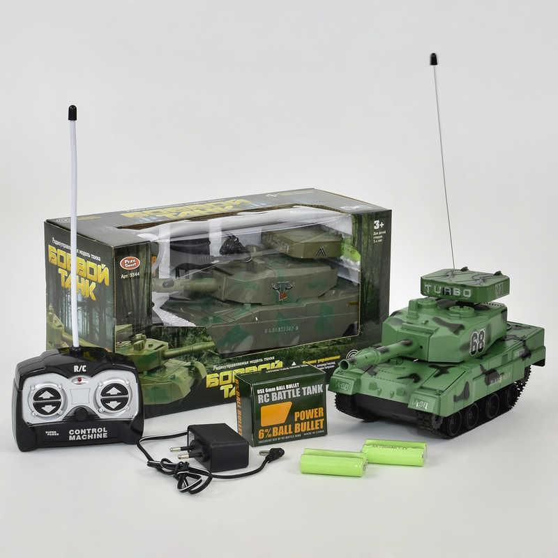 Танк на радиоуправлении 9344 (36/3) стреляет пулями, на аккумуляторе 4.8 V, 2 цвета, в коробке