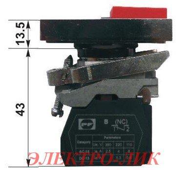 Вимикач ВК 012-НПрИЛ, кнопки зелена + червона, LED індикацією, без фіксації, 1NО+1NС, ІР40, пласт.