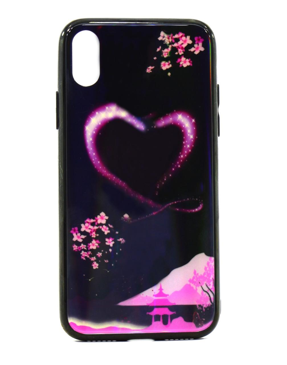 """Чохол-накладка Lumi для iPhone X/XS (5.8"""") світиться в темряві TPU+Glass Сердце"""