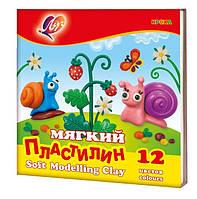"""Пластилин мягкий """"Кроха"""" Луч 12 цветов 198гр., к/к, со стеком"""