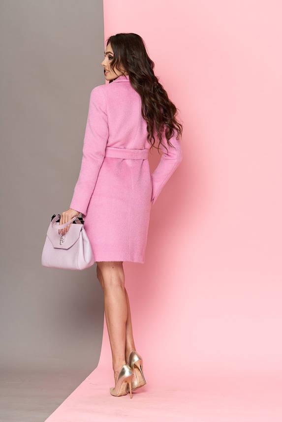 Длинноворсовое шерстяное пальто весна осень розовое, фото 2