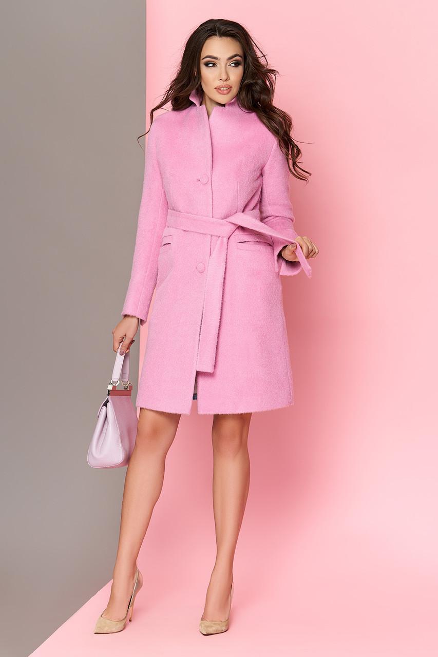 Длинноворсовое шерстяное пальто весна осень розовое