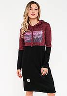 Спортивное платье с капюшоном из трикотажа Modniy Oazis бордовый 90270/3, фото 1