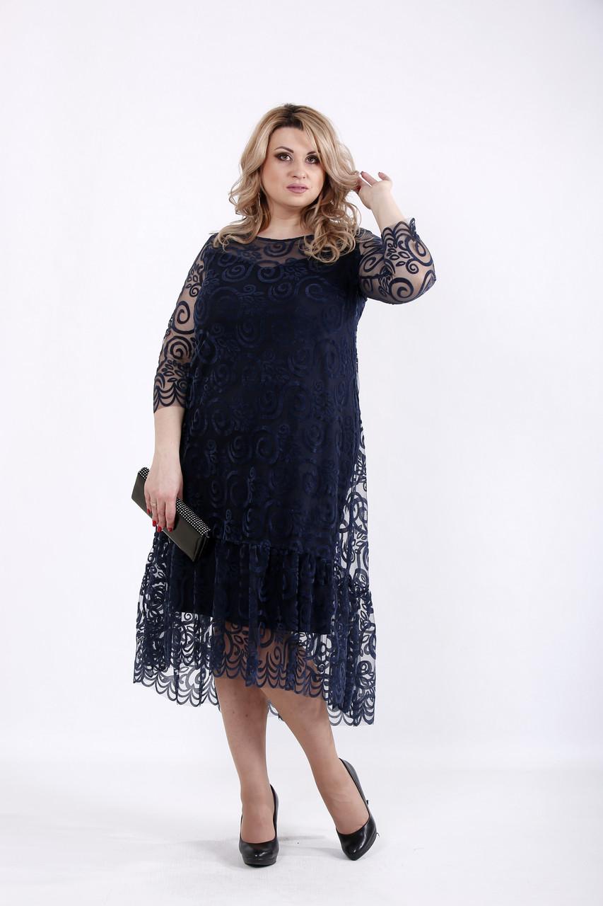 832c49d172a Синее вечернее платье для полных женщин 01064