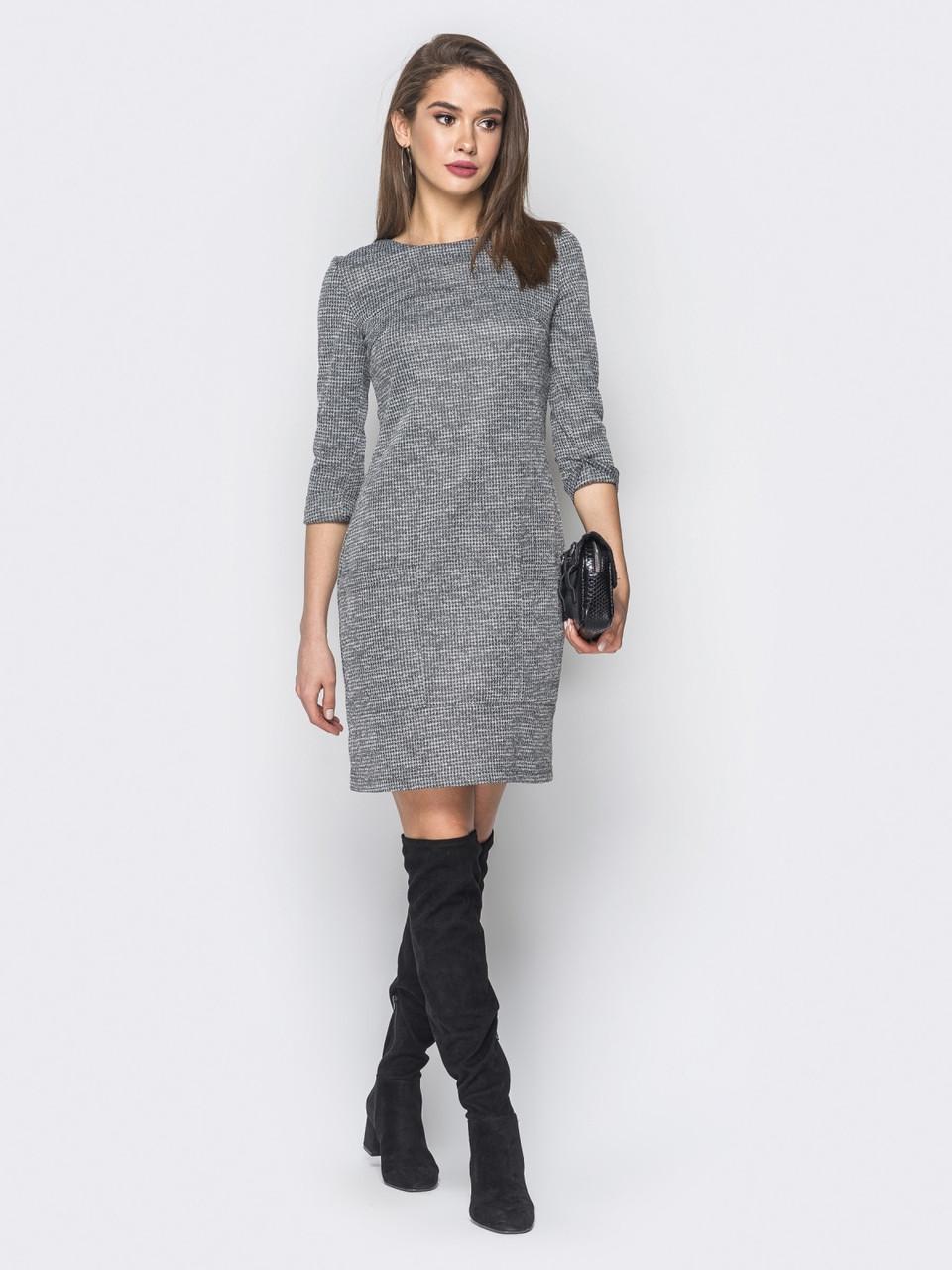 6486f3d2b45 Повседневное женское трикотажное платье прямого кроя с рукавом 3 4 р ...