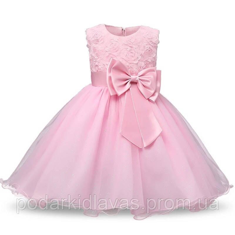 Платье Розовое  с блестящ й фатиновой юбкой и бантом, 140