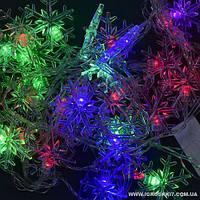 """SALE!Гирлянда светодиодная С 23458 """"Снежинка"""" (100) длина 4,5 метров, 28 ламп., цветная"""