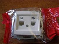 Розетка компьютерная и телефонная цифровая (RG45 Сат6 + RJ 11) без рамки El-Bi ZENA белая