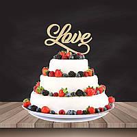 """Топпер на торт або в букет квітів """"Love"""" 17,5 см., фанера 4 мм."""