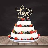 """Топпер для торта або в букет квітів """"Love"""" 17,5 см., фанера 4 мм."""