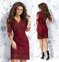 c284b778a1f Красивое женское короткое платье из гипюра с сеткой 44