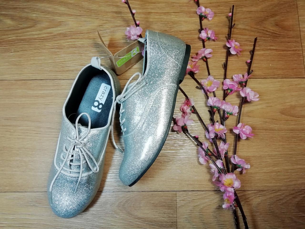 Серебристые стильные туфли на шнурках Crazy8 (США) (Размер 20 см)