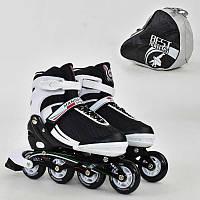 """Ролики 9003 """"L"""" Best Roller цвет-БЕЛО-ЧЕРНЫЙ /размер 39-42/ (6) колёса PU, без света, в сумке, d=7.6 см"""