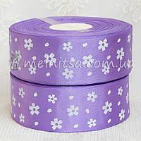 Атласная лента 4 см цветочек, фиолетовый