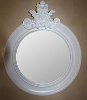 "Круглое зеркало в белой резной раме 810х700 Ar deko rotondo ""glamour bianco"""