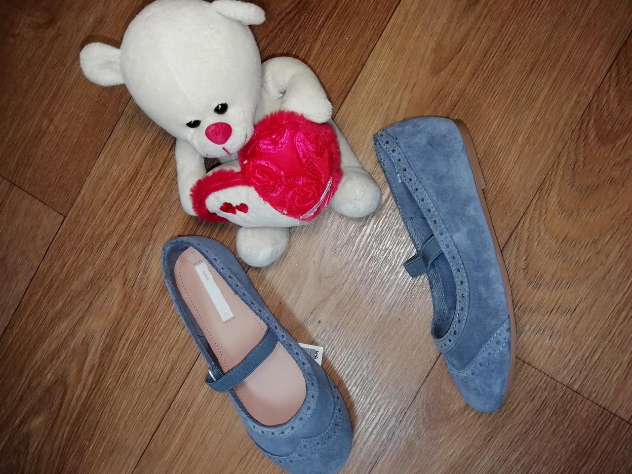 Стильные замшевые оригинальные туфельки на девочку H&M (Размер 31, 20см)