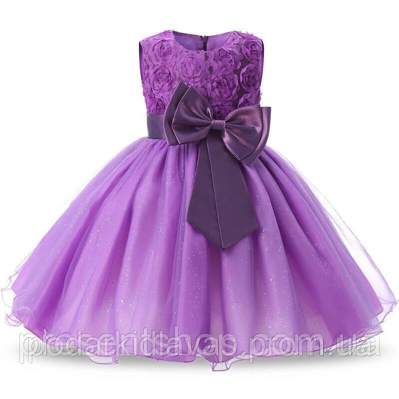 Платье для девочек 5-6 лет Фиолетовое с бантом, 120