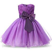 Платье для девочек 5-6 лет Фиолетовое с бантом, 120 , фото 1