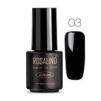 Гель-лак для ногтей маникюра 7мл Rosalind, шеллак, черный 03