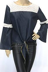 Джинсовая женская блуза с широким рукавом