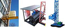 Н-45 м, г/п 500 кг. Мачтовый подъёмник для подачи стройматериалов секционный с выкатной платформой. Подъёмники, фото 2