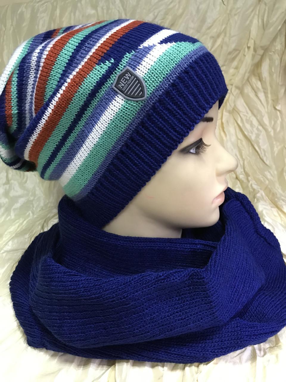 Набор шапочка в разных оттенках и однотонный шарф-снуд