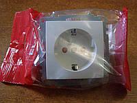 Розетка одинарная с заземлением и защитными шторками от детей без рамки EL-BI, ZENA белая