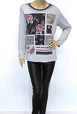 Жіночий реглан,кофта із квітковим принтом і стразами , фото 2