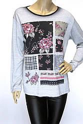 Жіночий реглан,кофта із квітковим принтом і стразами
