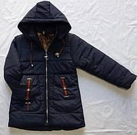 Демисезонная курткадетская для девочки 2-6лет, темно-синяя