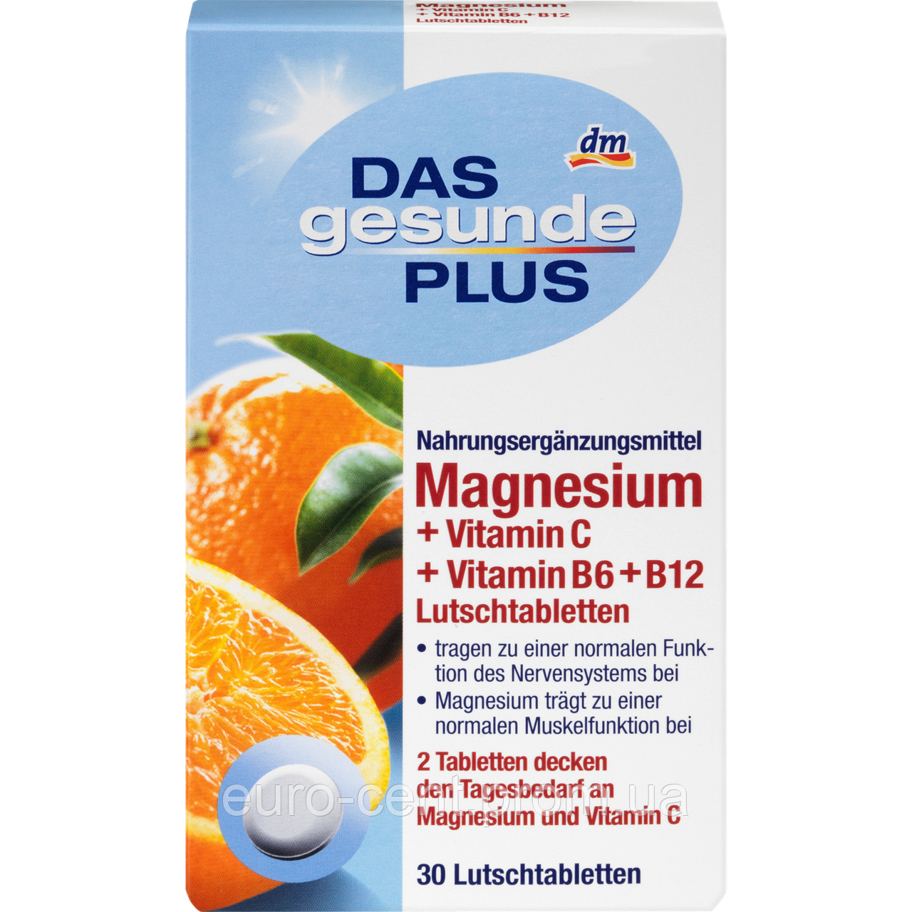 Магнезия + Витамин C + Витамин B6 + B12 леденцы-пастилки, Das gesunde Plus, 30 шт