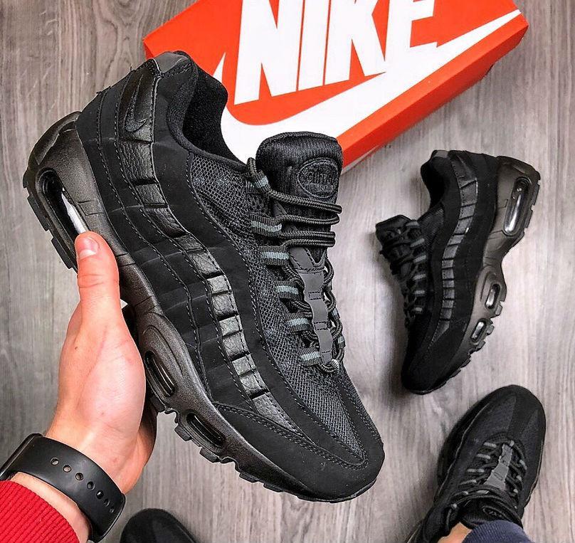 624190cb Nike Air Max 95 Triple Black | кроссовки мужские и женские; черные;  рефлектив