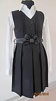 Платье-сарафан черный однотонный для девочки.