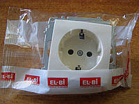 Розетка одинарная с заземлением без рамки EL-BI, ZENA белая