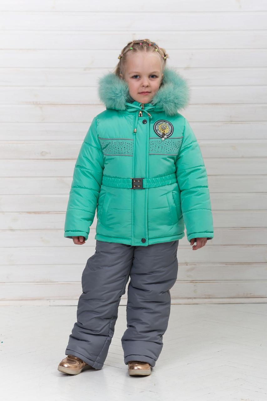 ae72d576c111 Детский зимний комбинезон для девочки мятного цвета