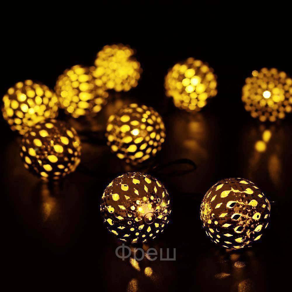 Гирлянда 20 металлических шариков WHITE WIRE METAL BALL!Скидка