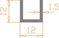 Алюминиевый П-образный профиль (Швеллер) 12*12*1,5 / AS