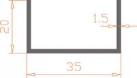 Алюминиевый П-образный профиль (Швеллер) 35*20*1,5 / AS