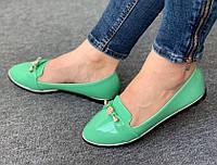 Балетки лаковые 8 пар в ящике зеленого цвета 36-41, фото 1
