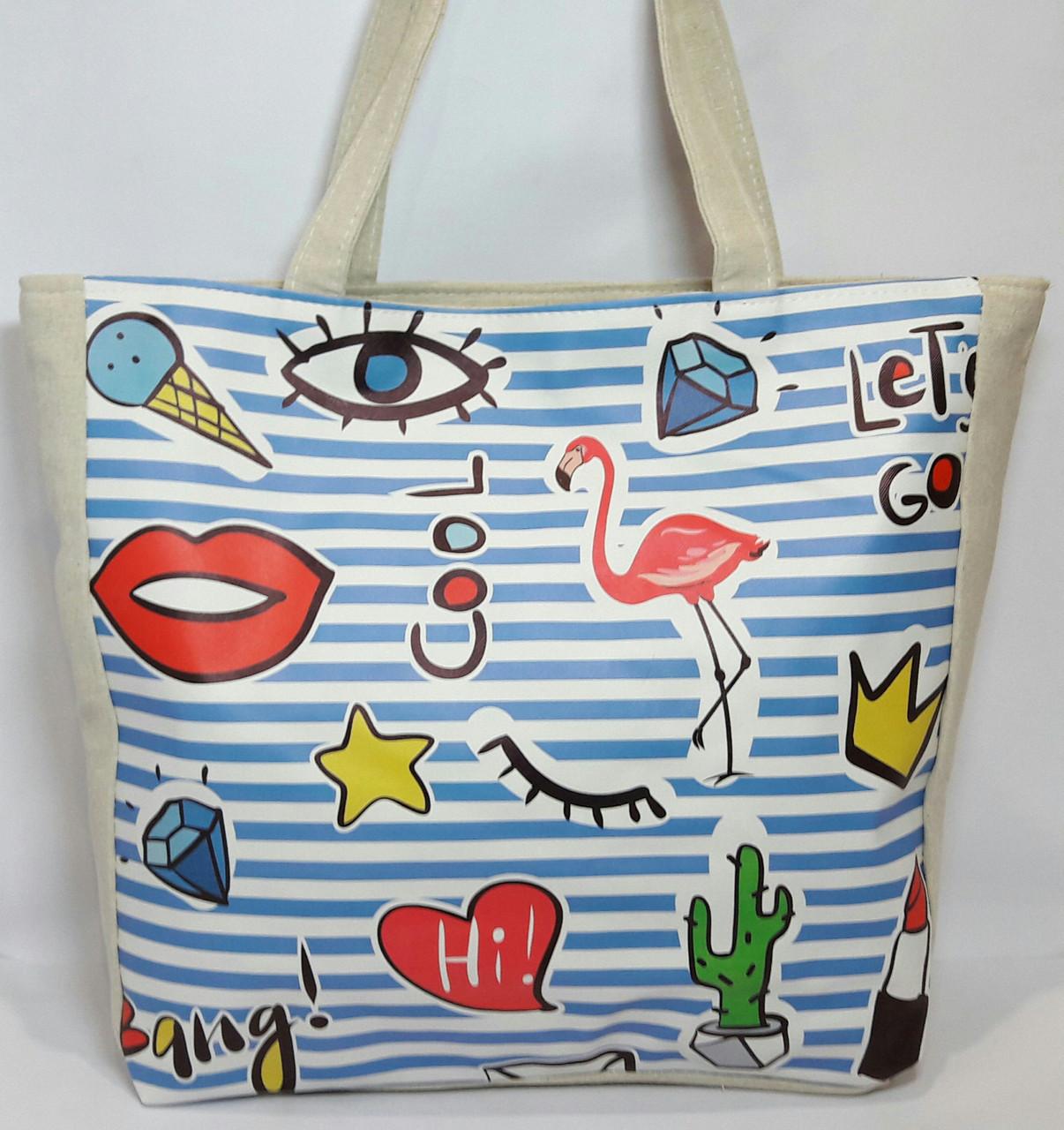 Пляжная сумка летняя Весёлый принт