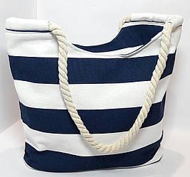 Пляжная сумка тёмно синяя полоса
