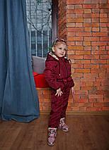 Детский осенний демисезонный комбинезон  с поясом бордовый, фото 2