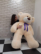 Большой мягкий Медведь - Молочный синяя лента - 1.8 метра (180 см), фото 2