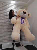 Большой мягкий Медведь - Молочный синяя лента - 1.8 метра (180 см)