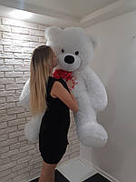 Большой мягкий Медведь - Белый красная лента - 1.55 метра (155 см)