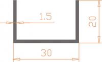Алюминиевый П-образный профиль (Швеллер) 30*20*1,5 / AS