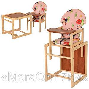 Детский стульчик для кормления-трансформер, деревянный М V-002-1 со склада оптом и в розницу